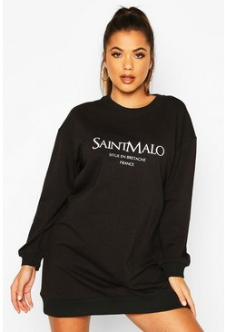 Womens Black Slogan Crewe Oversized Sweatshirt Dress