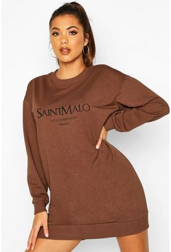 Womens Chocolate Slogan Crewe Oversized Sweatshirt Dress