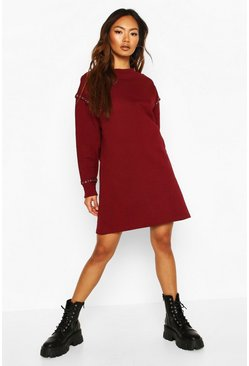 Berry Eyelet Detail Sweatshirt Dress