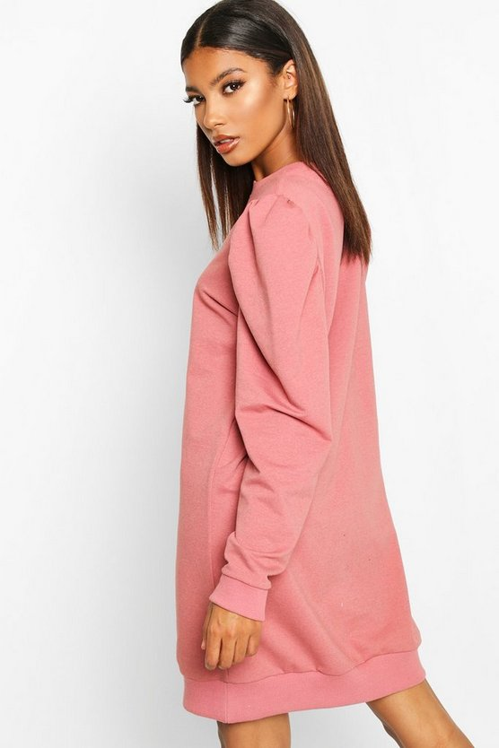 Puff Sleeve Crew Neck Sweatshirt Dress