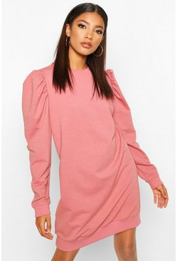 Womens Dusky pink Puff Sleeve Crew Neck Sweatshirt Dress