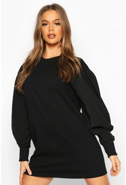 Womens Black Oversized Puff Sleeve Sweatshirt Dress
