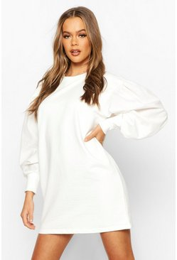 Robe sweat à manches bouffantes oversize, Blanc, Femme