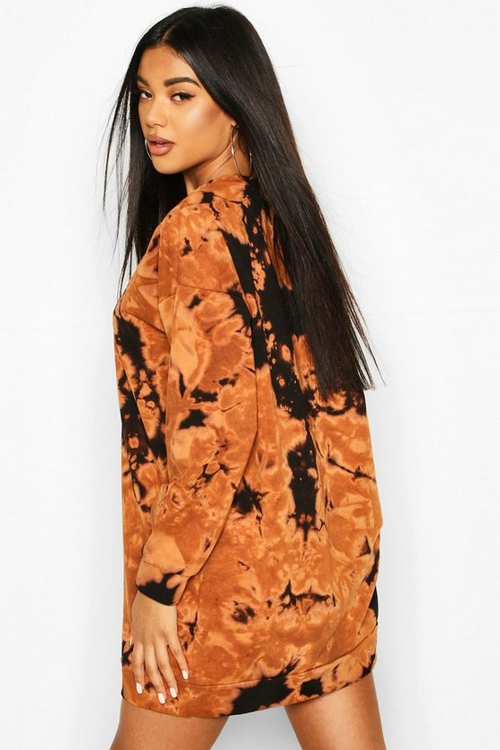 Slogan Acid Wash Sweatshirt Dress