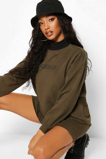 Womens Olive Washed Slogan Crew Neck Sweatshirt Dress