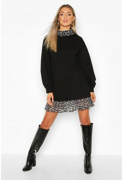 Womens Black High Neck Ditsy Floral Layered Sweatshirt Dress