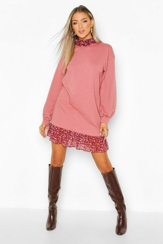 Pink High Neck Ditsy Floral Layered Sweatshirt Dress