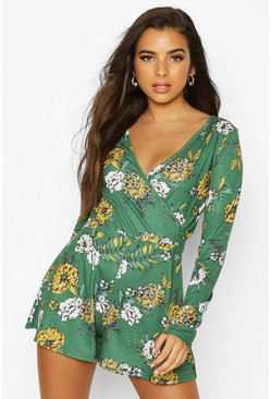 Womens Emerald Floral Wrap Playsuit