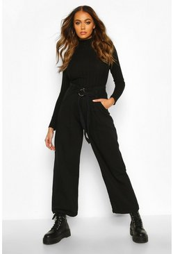 Womens Black O Ring Belted Wide Leg Utility Trousers