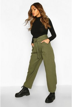 Womens Khaki O Ring Belted Wide Leg Utility Trousers