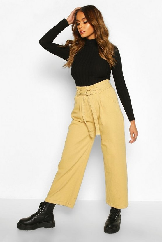 O Ring Belted Wide Leg Utility Trousers