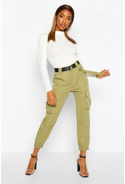 Khaki D Ring Belted Twill Cargo Trousers
