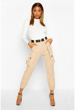 Stone D Ring Belted Twill Cargo Trousers