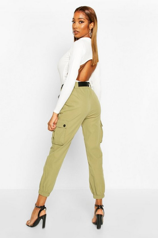 D Ring Belted Twill Cargo Trousers