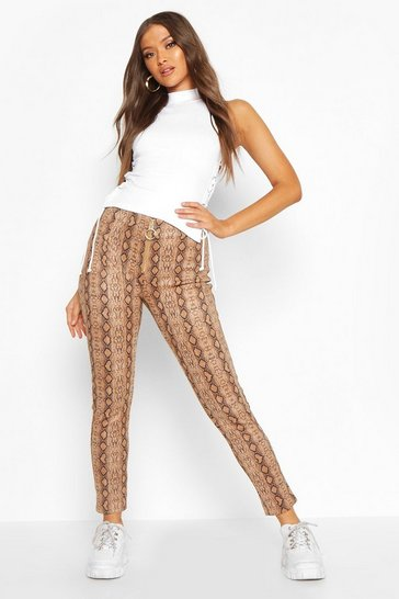 Brown Faux Suede Snake Print Super Stretch Legging