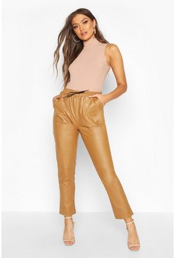 Womens Camel Leather Look Luxe Jogger