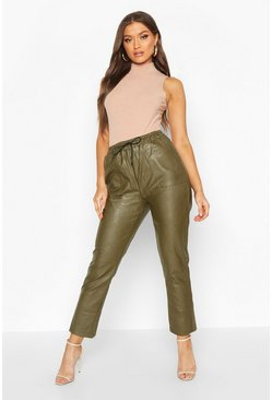 Khaki Leather Look Luxe Jogger