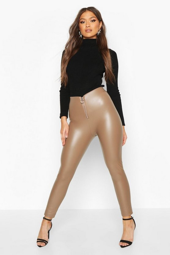 Beige Leather Look Zip Front Stretch Legging