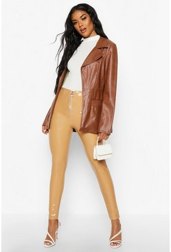 Beige Vinyl Zip Front Stretch Leggings
