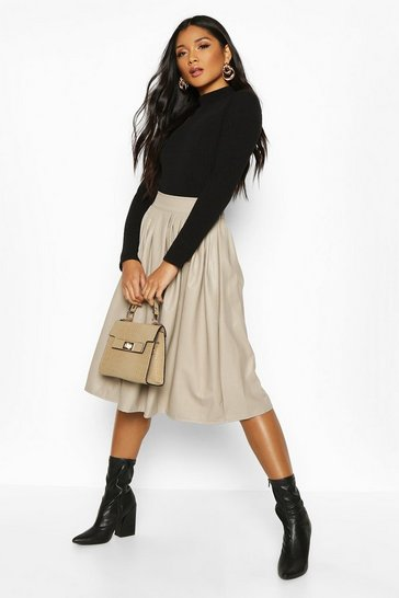 Beige Leather Look Pleated Midi Skirt
