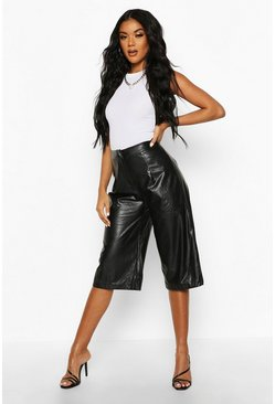 Womens Black Leather Look Tailored City Shorts