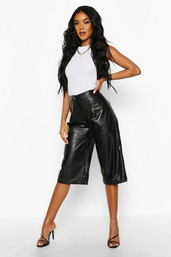 Leather Look Tailored City Shorts