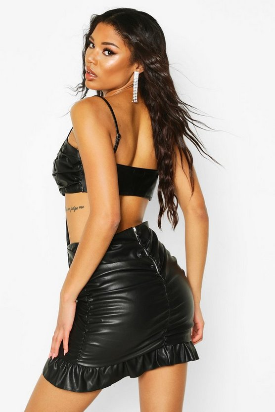 Leather Look Ruched Mini Skirt