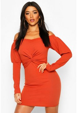 Womens Rust Off The Shoulder Twist Detail Mini Dress
