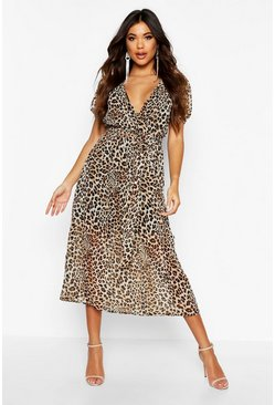 Womens Leopard Print Open Back Tie Waist Midaxi Dress