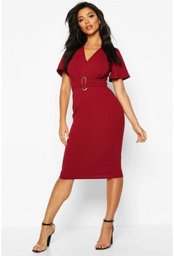 Berry Gathered Buckle Front Midi Dress