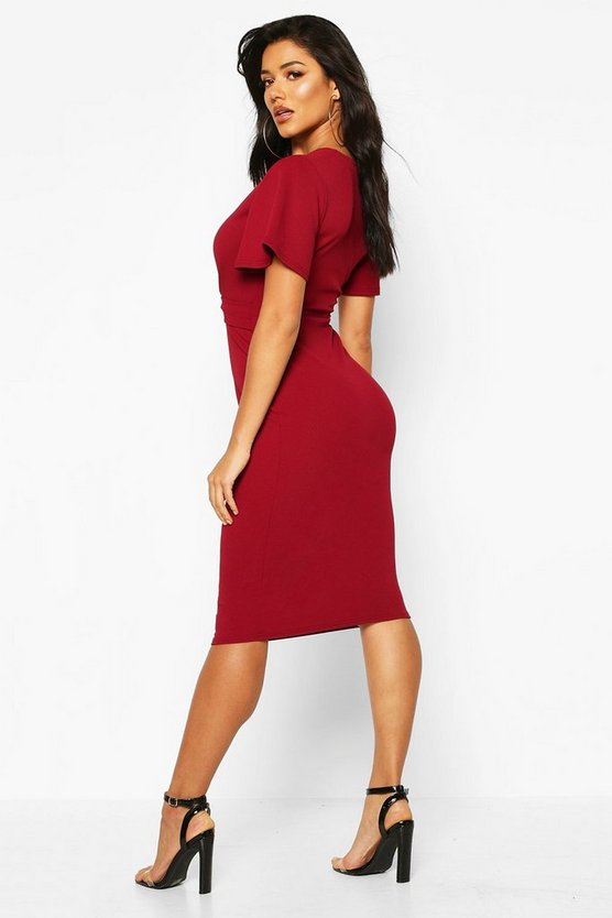 Gathered Buckle Front Midi Dress