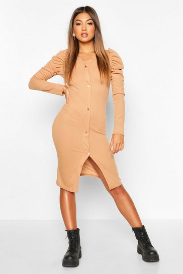 Womens Camel Rib Puff Ruched Sleeve Midi Dress