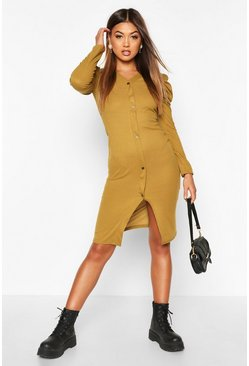 Womens Olive Rib Puff Ruched Sleeve Midi Dress