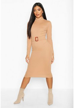 Womens Camel Rib High Neck Buckle Waist Midi Dress