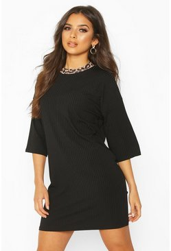 Black Leopard Ringer Ribbed Mini Dress