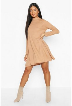 Womens Camel Rib High Neck Long Sleeve Swing Dress