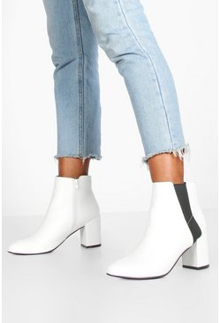 White Block Heel Shoe Boots