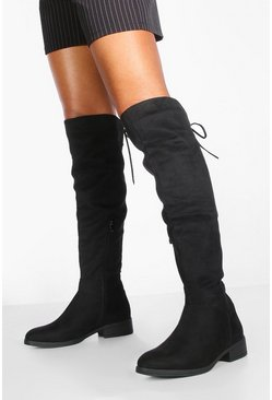Black Tie Back Flat Over the Knee Boots