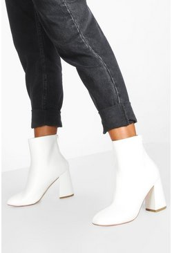 Womens White Block Heel Round Toe Shoe Boots