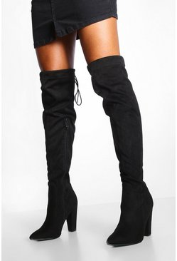 Womens Black Tie Back Block Heel Over The Knee Boots