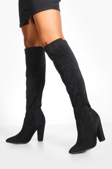 Black Mixed Material Block Heel Over The Knee Boots