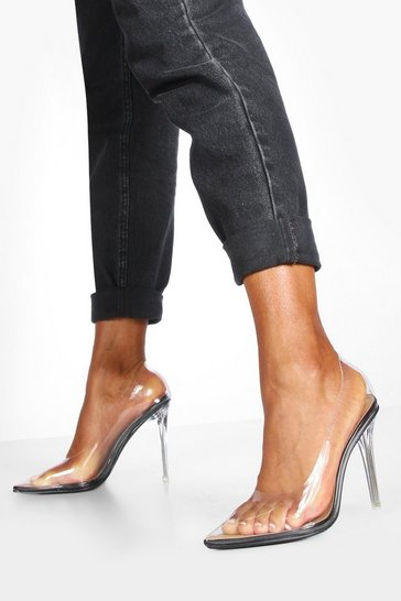 Black Clear Pointed Toe Stiletto Heel Courts
