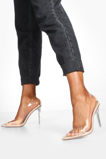 Nude Clear Pointed Toe Stiletto Heel Courts