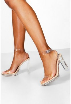 Dam Nude Clear Platform Two Part Heels