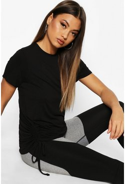 Womens Black Fit Ruched Side Gym Tee