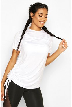 White Fit Ruched Side Gym Tee