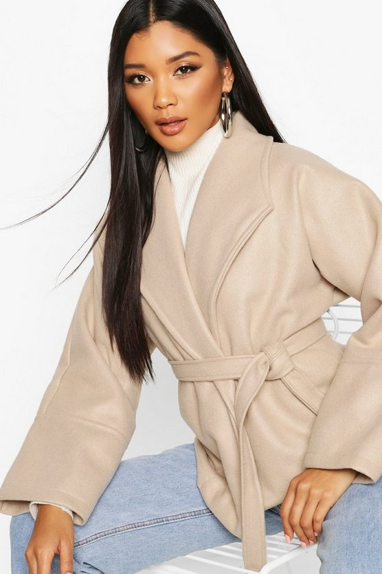 Wide Collar Belted Short Wool Look Coat by Boohoo