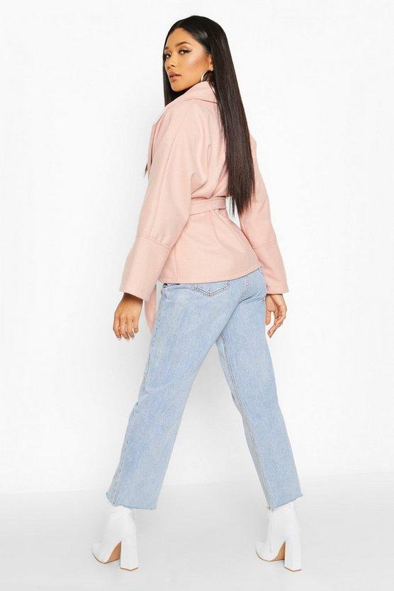 Wide Collar Belted Short Wool Look Coat