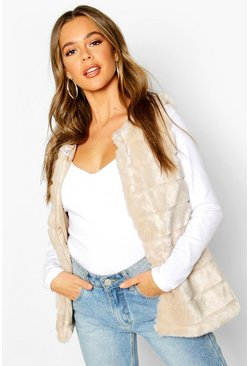 Womens Sand Panelled Faux Fur Gilet