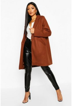 Womens Chocolate Tailored Wool Look Coat